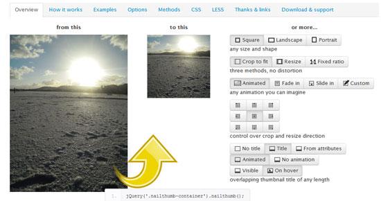 jQuery NailThumb Tool for web designers