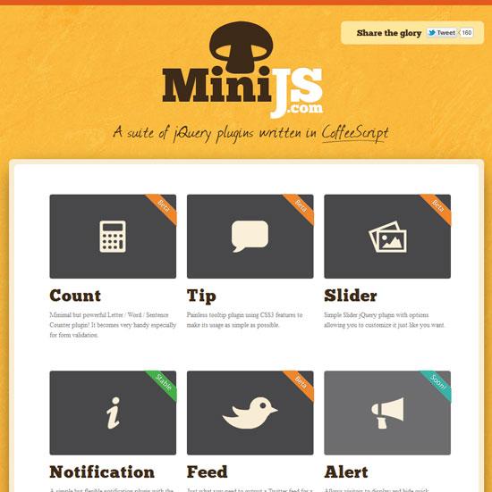 MiniJS - A suite of jQuery plugins written in CoffeeScript Tool for web designers
