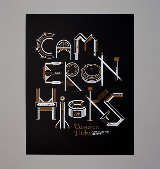 Cameron Hicks  Graduation Recital Typography Inspiration