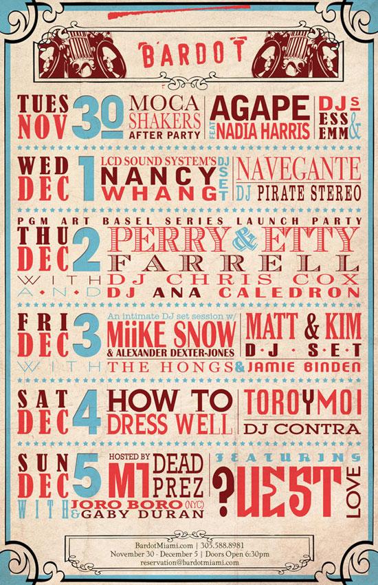 Bardot Miami 11 x 17 Poster Typography Inspiration