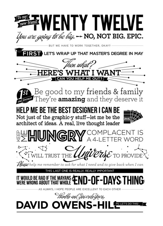 Letter to 2012 Typography Inspiration