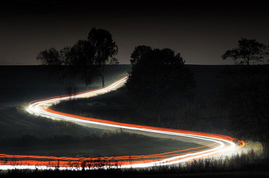 Country road at night Night Photography