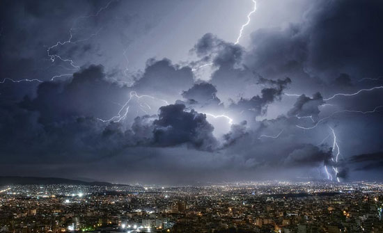 Lightning over Athens Night Photography
