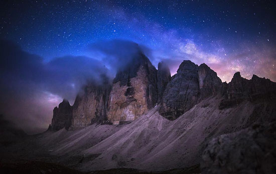 Tre Cime de Lavaredo at night Photography