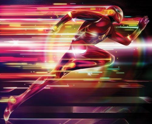 Create a glowing superhero