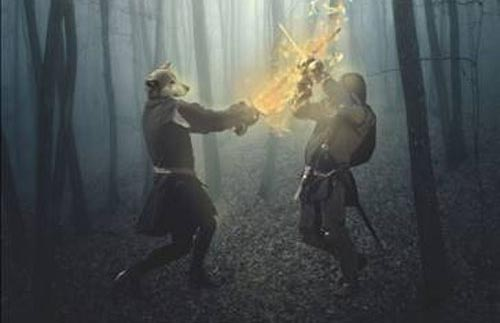 Create a Werewolf Warrior Wielding a Flaming Sword in Photoshop