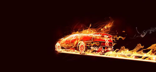 Flaming Car in Photoshop by Lincoln Soares