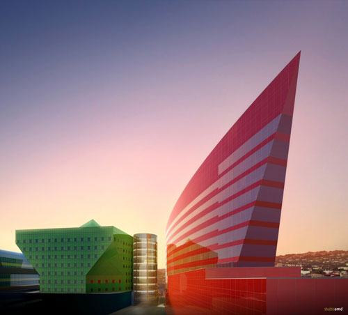 Red Building in West Hollywood, California, USA 2 - Office Buildings Architecture