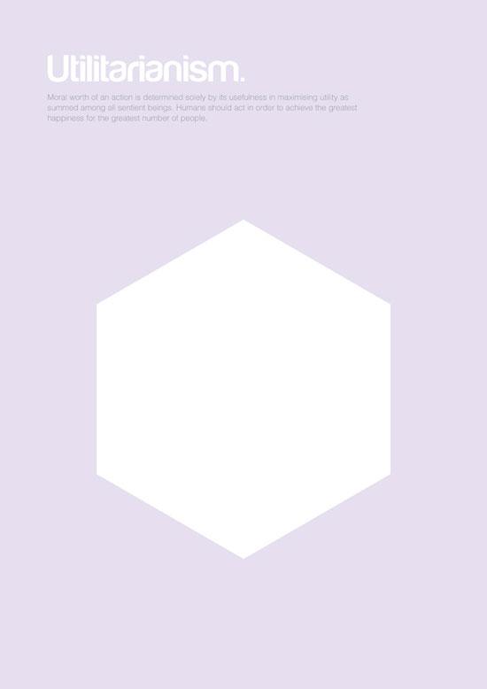 Utilitarianism minimalist graphic design poster