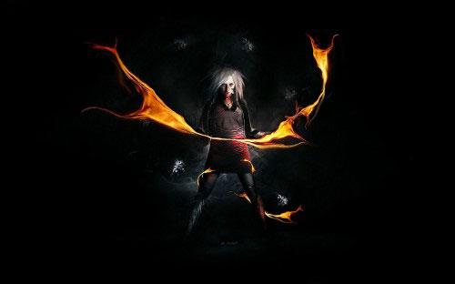 Design a Dark, Super-Natural Magic Figure with Fire Element in Photoshop