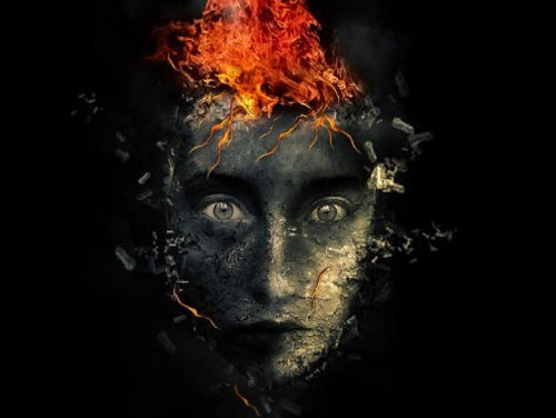 Create Surreal Human Face with Flame Hair and Disintegration Effect in Photoshop