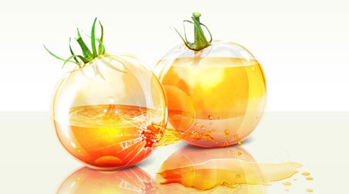 Shiny glass yellow tomatoes with colorful liquid inside and splashing effect