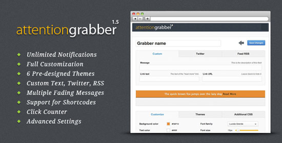 attentionGrabber: WordPress Notification Bar Plugin