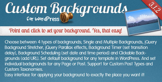Custom Backgrounds for WordPress Plugin