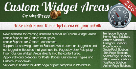 Custom Widget Areas for WordPress Plugin