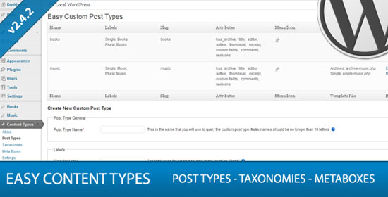 Easy Custom Content Types for WordPress Plugin