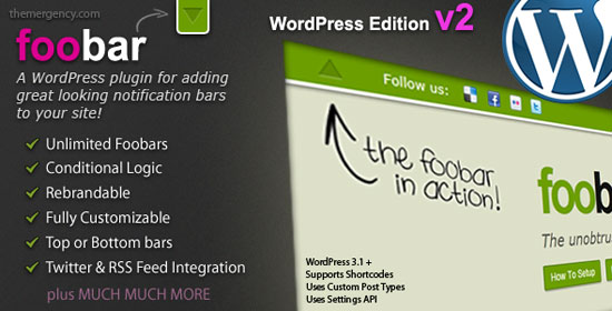 Foobar - WordPress Notification Bars Plugin