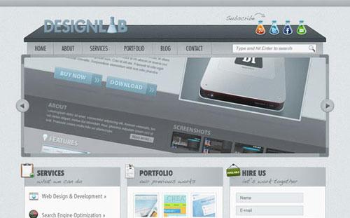 Create a Modern Lab Theme Web Design in Photoshop tutorial