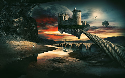 Create a Surreal Landscape Using Photo Manipulation Photoshop tutorial
