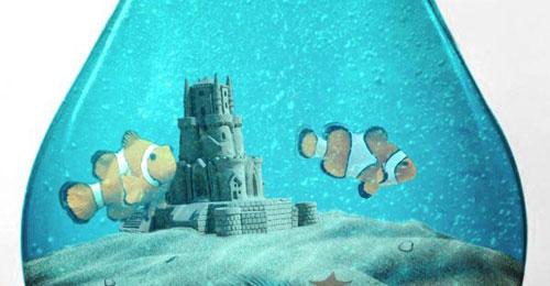 Create an Aquarium Inside a Light Bulb with Photoshop tutorial