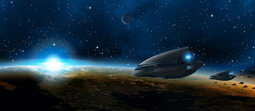 Create a Green Planet, a Setting Sun, and a Space Ship in Photoshop tutorial