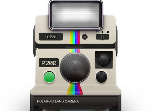 How To Draw a Vintage Polaroid Camera Icon Photoshop tutorial