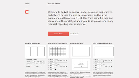 Cedvel, an application for designing grid systems