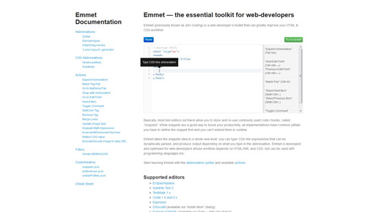 Emmet — the essential toolkit for web-developers