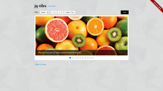 jq-tiles: Slideshow with many cool css3 effects