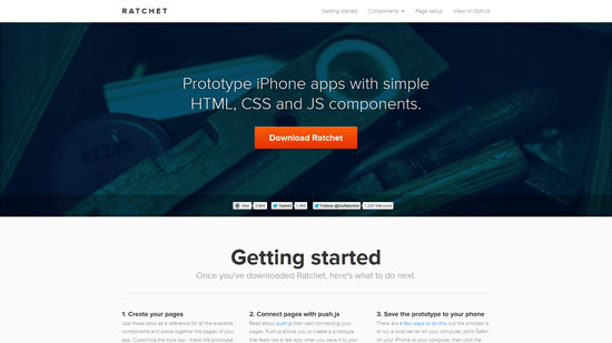 Ratchet: Prototype iPhone apps with simple HTML, CSS and JS components.