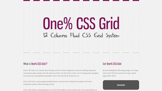 One% CSS Grid: 12 Columns Fluid CSS Grid System