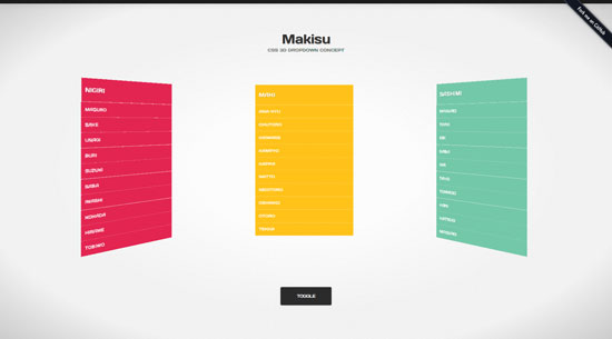 Makisu: CSS 3D DROPDOWN CONCEPT