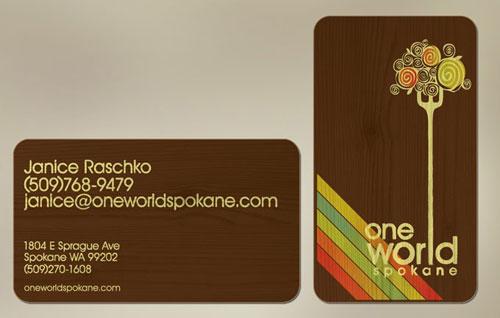 One World Spokane Round Corners Business Card