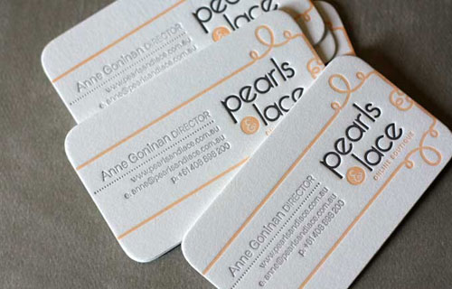 Pearls and lace Round Corners Business Card