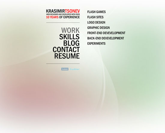krasimirtsonev.com Flash Site Design Inspiration