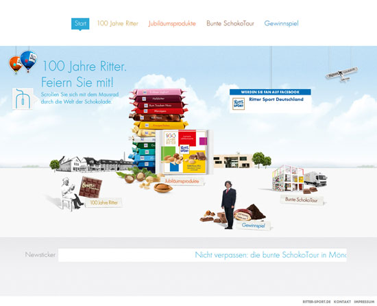 ritter-sport.de/100jahre Flash Site Design Inspiration