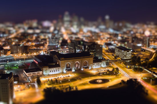 Kansas City by Night - A Beautiful Miniaturized World Captured By Tilt Shift Photography