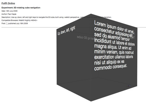 Animated CSS3 cube using 3D transforms