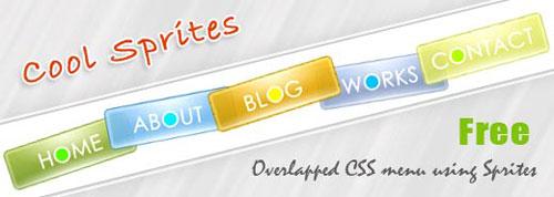 Overlapped CSS menu using CSS Sprites