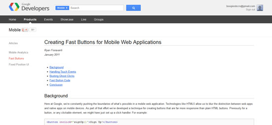 Creating Fast Buttons for Mobile Web Applications