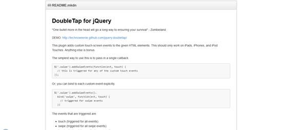 DoubleTap for jQuery
