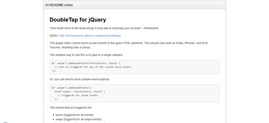 DoubleTap for jQuery