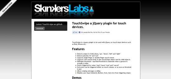 TouchSwipe a jQuery plugin for touch devices