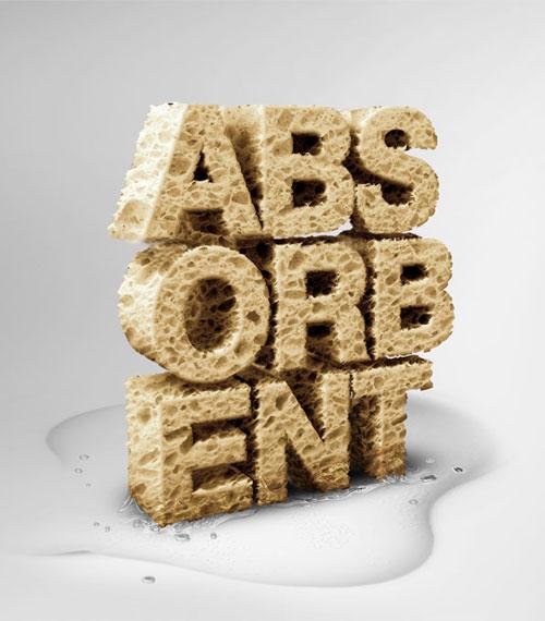 Sponge Asorbent typography