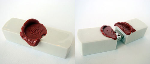 A USB flash drive sealed with wax