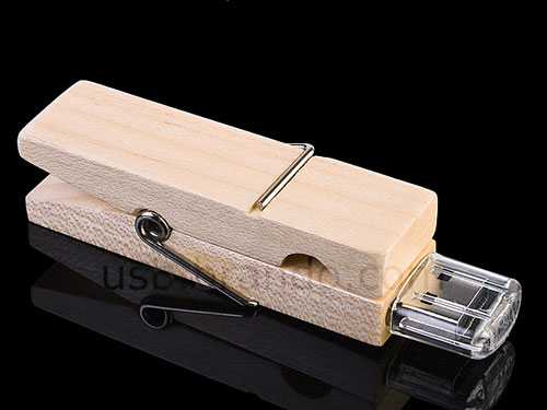 USB Wooden Clip Flash Drive