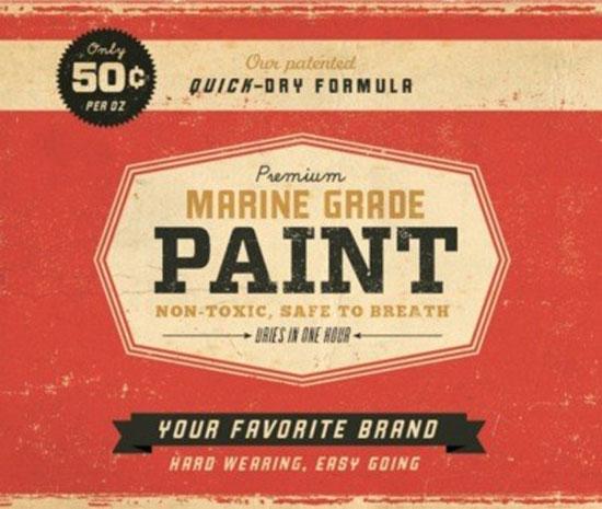Marine Grade Paint Vintage Typography Design