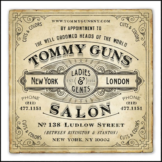 Tommy guns salon Vintage Typography Design