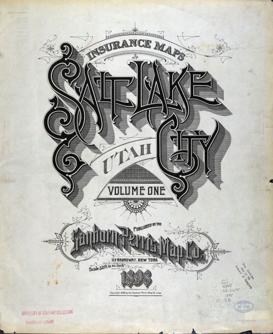 Salt Lake City Sanborn Map Vintage Typography Design