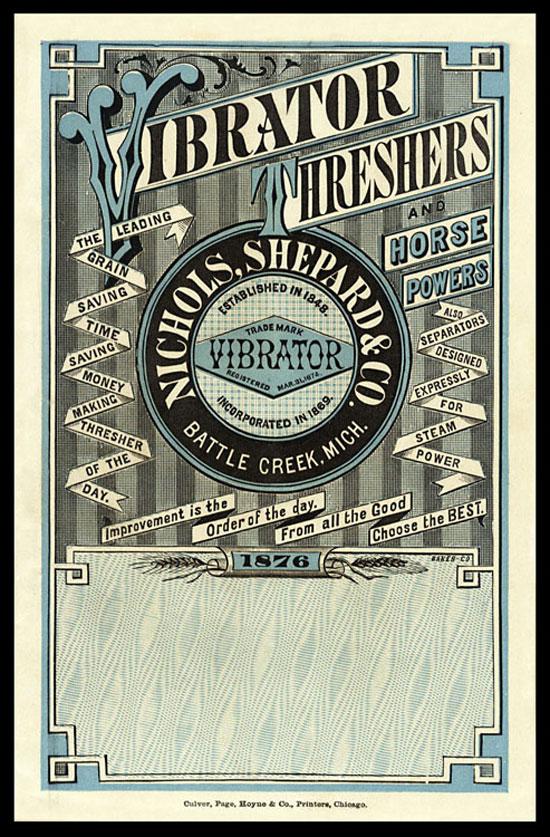 Vibrator Trade Card Vintage Typography Design